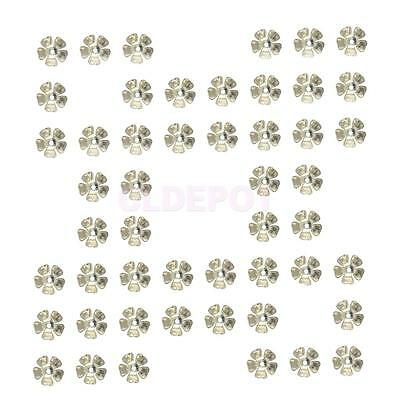50Pcs 8mm Silver Lotus Flower Spacer Beads Caps Connector Jewelry Findings