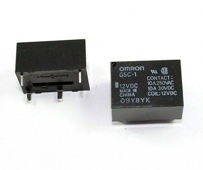 Omron G5C-1-DC12 Relay, 10A, 12V, PCB mount - Lot of 3 ( 28B121 )