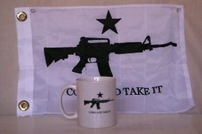"""COME AND TAKE IT M4 ASSAULT RIFLE 12 oz COFFEE CUP & 12""""x18"""" FLAG COMBINATION"""