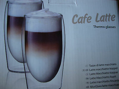 CAFE LATTE THERMO GLASSES - 2 X 35cl DOUBLE WALL.
