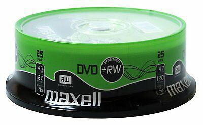 Maxell DVD+RW 4.7GB 4x Speed 120min Rewritable DVD Discs in Spindle Pack 25