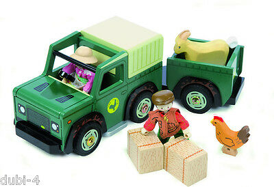 Le Toy Van TV 438 - Budkins - Farm 4x4 Car Jeep and Trailer - Auto Holz