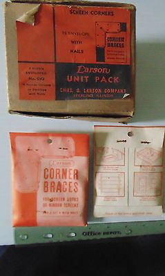 Vintage New Old Stock Box of 12 Packages Larson Corner Braces (For Screen Doors)