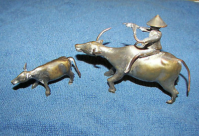 Silver Oxen Bull & Calf Statues Figurines Chinese Flute Player Riding