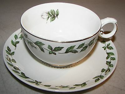 Superior Hall Quality Dinnerware Cameo Rose Footed Cup & Saucer Set Green/Gold