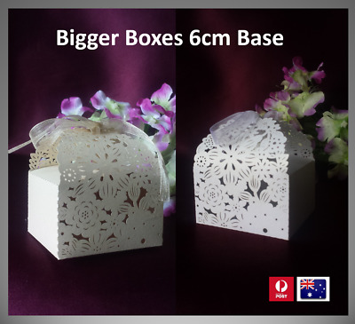 50/100 7cm Laser Cut Wedding Favour Boxes, Cake Gift Party, FAST