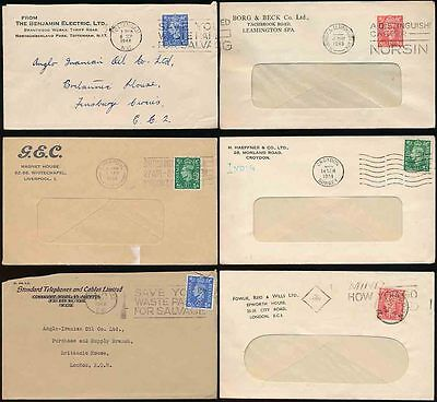 GB PERFINS 6 ITEMS PROVING + CONFIRMING COVERS on FRONTS KG6 ISSUES 1948-53