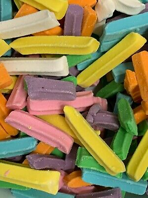 Mini Fruity Sticks 1Kg Pink Green Yellow Orange Lollies Rainbow Candy