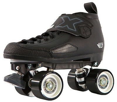 Crazy DBX 1 Mens/Ladies Adjustable Derby Roller Skates - Black - Size 41-43