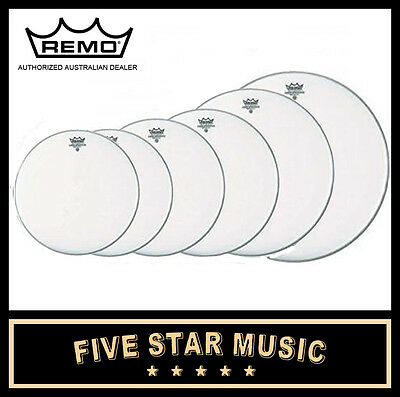 """Remo Silent Stroke 6 Pce Drum Skin Fusion-Ish Set 10"""" 12"""" 14"""" 16"""" 22"""" Heads New"""