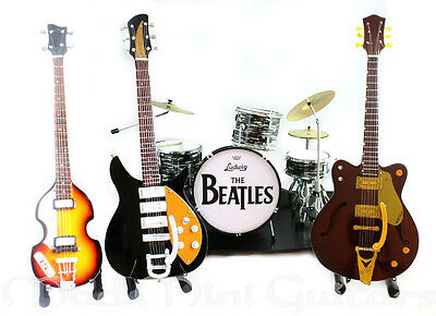 THE BEATLES FULL BAND MINI GUITAR + DRUM KIT SET with stage