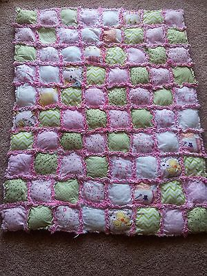 patchwork rag quilt blanket lap baby toddle girl handmade pink  gift baby shower