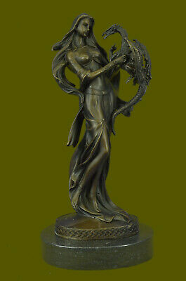 Bronze Sculpture Semi Nude Lady Nymph with Dragon Museum Quality Artwork