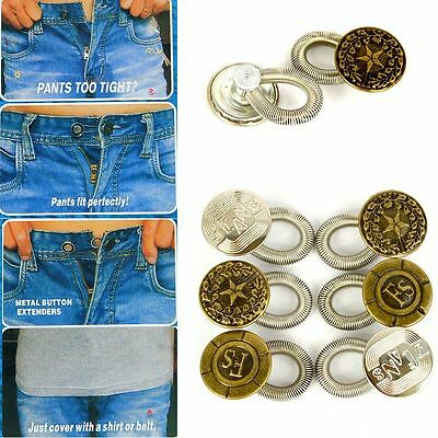 6Pcs Expanders Button Fix Extender Waist Men/Women Pants Jeans Stretch E2U