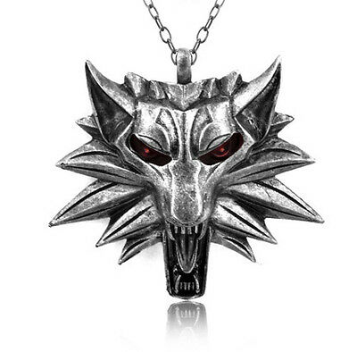 COLLIER Pendentif Metal THE WITCHER 3 WILD HUNT TÊTE DE LOUP. NEUF