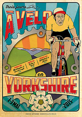 Yorkshire Vintage Inspired Cycling  WALL DECOR GIFT ART POSTER #3 A3//A4 SIZE