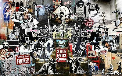 A3/A4 SIZE - Banksy Collage MONTAGE Art  WALL DECOR / GIFT ART POSTER # 4