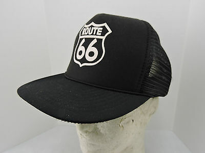 957641e9a ROUTE 66 MESH Trucker Hat Cap One Size Black Snapback Nissin Corded Brim  Imprint