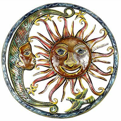 Handmade Metal Wall Art Painted Angel Sun Moon Haitian Decor Home Patio 24 inch