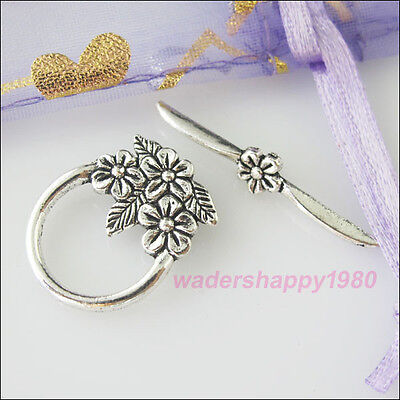 10Sets New Tibetan Silver Tone Flower Toggle Clasps Connectors for DIY Crafts