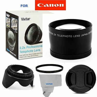 58Mm 2.2X Zoom Lens +Accessories For Canon Eos Rebel 20D 40D 60D 7D 70D 6D T5 T3