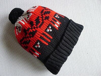 vintage retro true 50s unused knit beanie hat baby toddler NOS red black