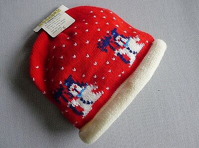 vintage retro true 70s unused toddler red knit hat beanie NOS tags snowman