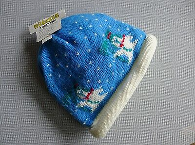 vintage retro true 70s unused toddler blue knit hat beanie snowman NOS tags