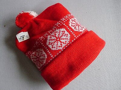 vintage retro true 70s unused red knit hat beanie toddler NOS snow