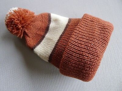 vintage retro true 60s unused knit hat beanie toddler NOS brown very warm