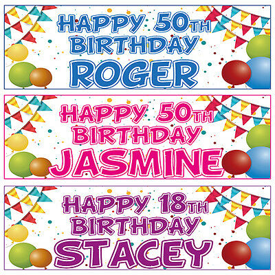 2 PERSONALISED BIRTHDAY BANNERS BUNTIN - 1st 16th 18th 21st 30th 40th 50th 60th