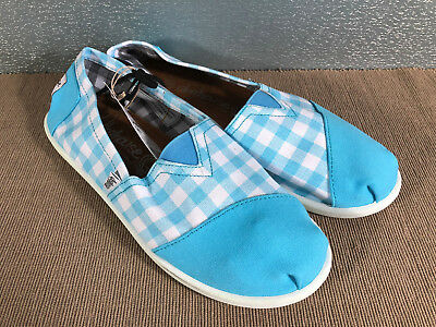 BNWT Older Girls Ladies Sz 5 Rivers Doghouse Brand Aqua Checked Canvas Shoes