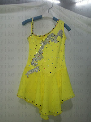 girls figure skating dresses women competition skating dress yellow ice clothing