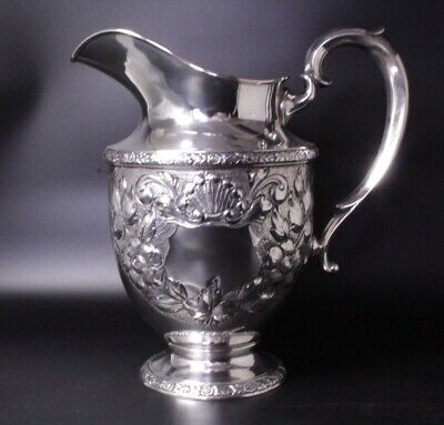 Sterling Silver Water Pitcher Rose Bouquet by Fisher Repousse No monogram