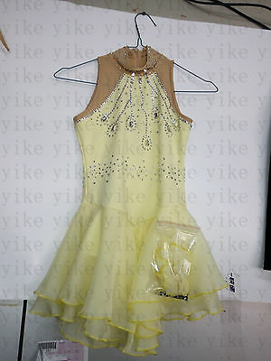 adult figure skating dresses yellow custom girls ice skating clothes competition
