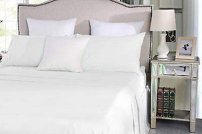 Easy Care 250TC CVC Cotton Plain Dyed Sheet Set Fitted Flat All Sizes 7 Colours
