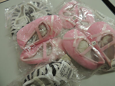 WHOLESALE LOT x 5 Girl's Baby Ballet Shoes * Pink & Zebra Print 1 LOT ONLY *NEW*