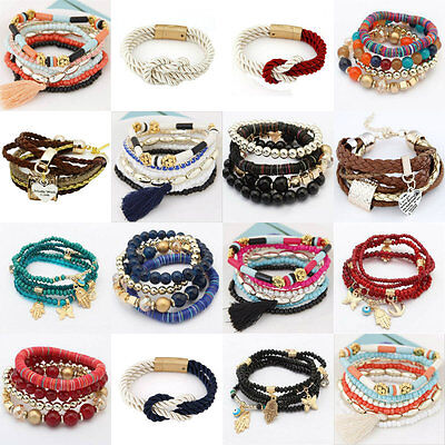 New Fashion Women's Bangle Pendant Crystal Multilayer Bead Bracelet Hook Jewelry