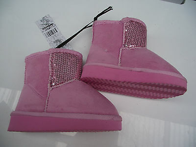BNWT Little Girls Sz 12 Rivers Doghouse Pink Sequin Short Style Slipper Boots