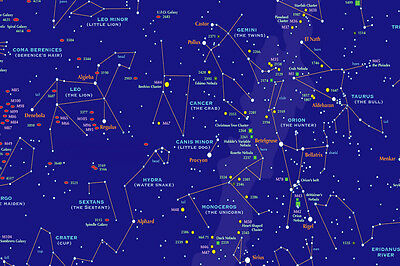 A3/A4 SIZE - Star Chart Educational Map of the sky cosmos PANORAMA POSTER # 4