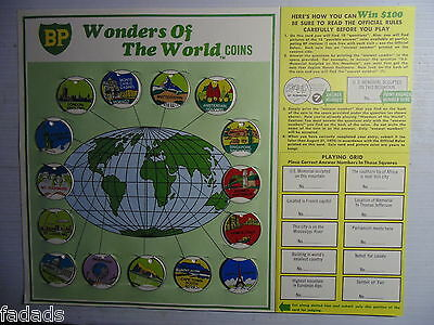 1969 BP Wonders Of The World Coins Set On Display Card Entry Blank Excellent