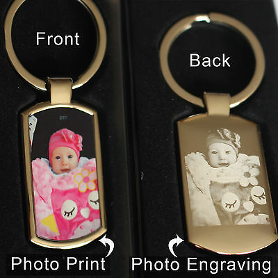 Personalised Metal Keyring Photo Printed front & Art,text ENGRAVED- Free Gifbox