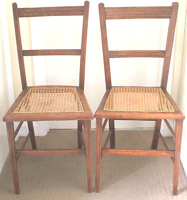 "Pair of Mahogany Inlaid Cane Seat Bedroom Chairs GC 33""H 15""W 14""D"