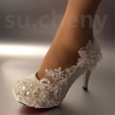 Su Cheny 3 4 Heel White Ivory Lace Pearls Wedding Shoes Pumps Bride
