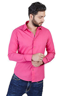 New Mens Slim Fit Solid Fuchsia Pink Dress Shirt By Azar Man 2009