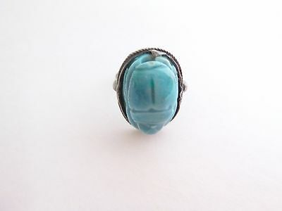 Sterling Silver Egyptian Made Scarab Ring Vintage 1950's! Estate! Hallmarked Egy