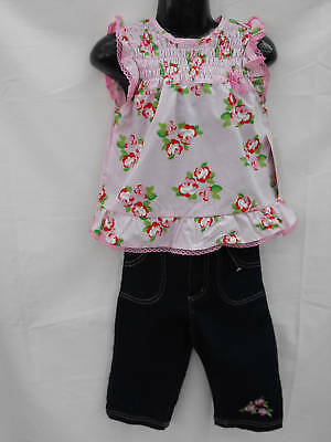 BNWT Little Girls Size 4 Gorgeous Pink Ruffle Sleeveless Top & Denim Jeans Set