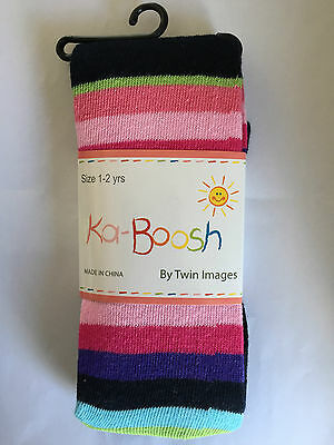 BNWT Ka-Boosh Brand Girls Age 1-2 Years Navy/Stripe Thick Footed Style Tights