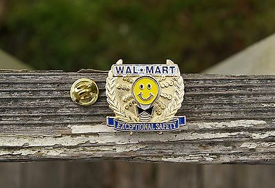 Wal-Mart Exceptional Safety Light Bulb Smiley Metal Enamel Employee Pin Pinback