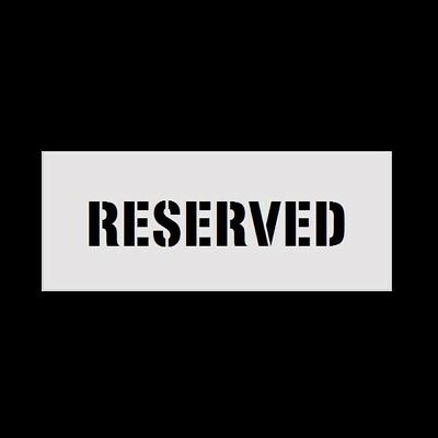 """8"""" Letters RESERVED  Reusable Stencil for Parking Lot Spray Painting 2mm PVC"""